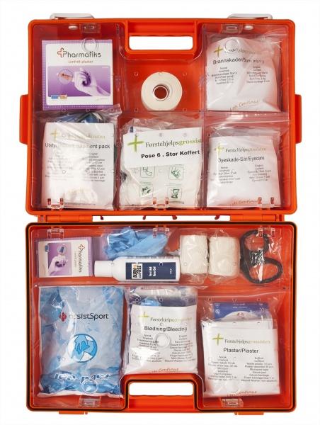 stor førstehjelpskoffert åpen